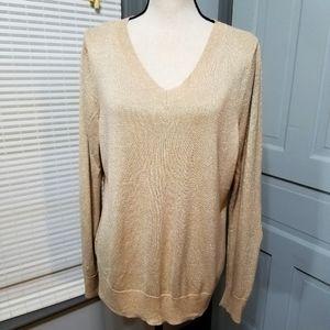 Lane Bryant Gold Metallic Shimmer Sweater